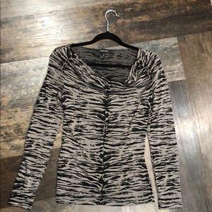 Gray and Black Animal Print top